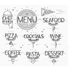 Menu in vintage modern style lines drawn vector