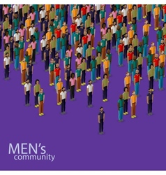 3d isometric of male community with a crowd of vector image vector image