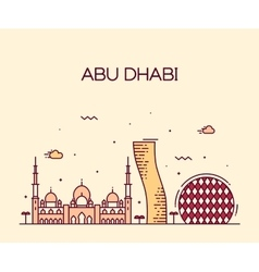 Abu dhabi city skyline trendy line art vector