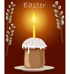 Cake and candle at easter vector