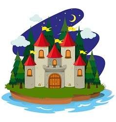 Castle on island at night vector