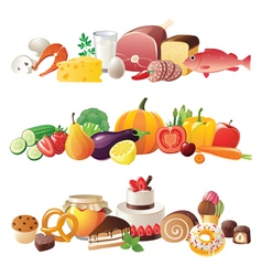 Detailed food borders vector