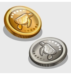 Gold and silver coin with image of a turtle vector
