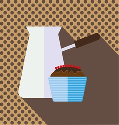 A jar of coffee with a brown chocolate cake vector
