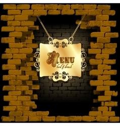 restaurant menu in an old brick wall vector image