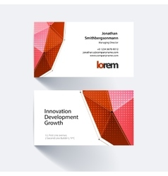 Business card template with triangles in vector