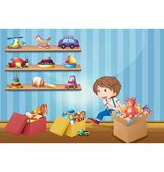 Little boy and many toys vector
