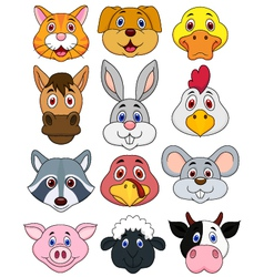 Animal head cartoon set vector