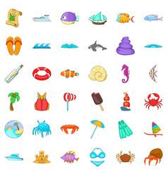 Beach ralaxation icons set cartoon style vector