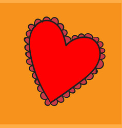 big red heart with a pattern on yellow background vector image