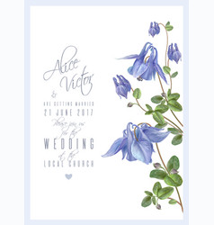 blue flower invitation vector image vector image