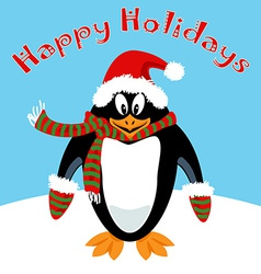 Cartoon penguin holiday card vector