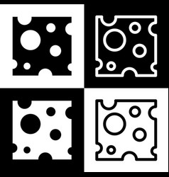 cheese slice sign black and white icons vector image