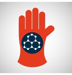 chemical glove with molecule structure icon vector image vector image