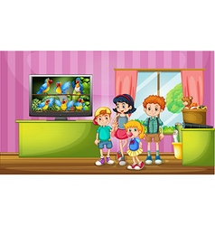 Children watching tv in the room vector image