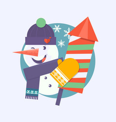 christmas card with snowman holding firecracker vector image