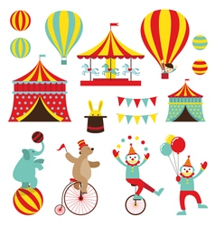Circus Objects Flat Icons Set vector image