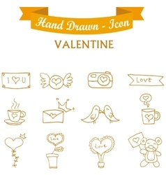 Collection orange icon valentine days vector