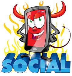 evil fun mobile cartoon on flame vector image vector image