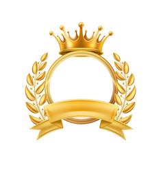 Gold crown laurel wreath winner frame isolated vector
