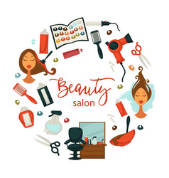Hair beauty or woman hairdresser salon poster for vector