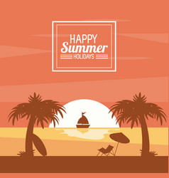 Happy summer holidays poster sunset ocean ship vector