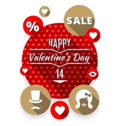 Icons set flat valentines love symbols vector image vector image