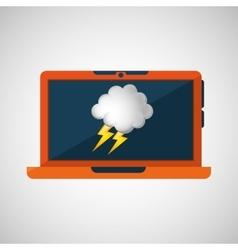 Laptop technology weather forecast cloud vector