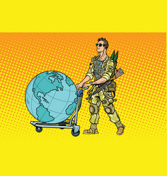 military tourism the mercenary with a cart earth vector image