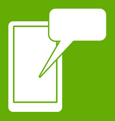 Mobile chatting icon green vector