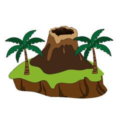 Nature volcano landscape vector