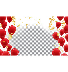 poster with shiny red balloons on translucent vector image vector image