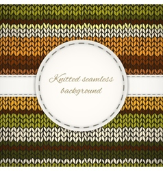 Seamless knitted background with stitched frame vector