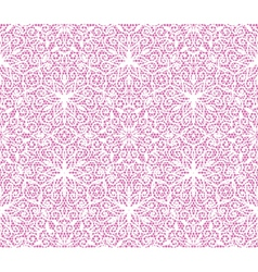 Seamless white floral lace pattern on pink vector image