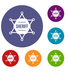 sheriff badge icons set vector image vector image