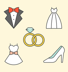 Wedding clothe filled outline icon vector