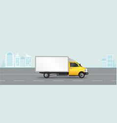 yellow truck template cargo van vector image vector image