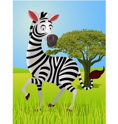 Zebra cartoon in the jungle vector