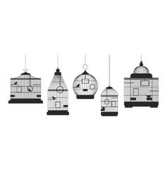 Birdcages row set vector