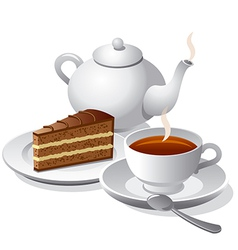 Tea and cake icon vector