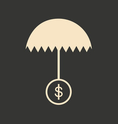 flat in black white umbrella and dollar vector image