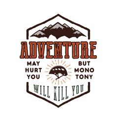 Vintage adventure hand drawn label design vector