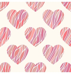 Seamless pattern with wavy hearts vector