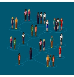 3d isometric of society members with men and women vector
