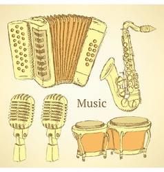 Sketch musical instrument in vintage style vector