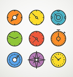 Different slyles of color speedometers collection vector