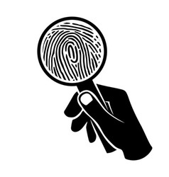 Fingerprint under loupe vector