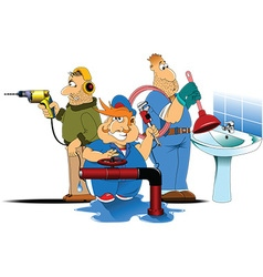 Three plumbers cartoon vector