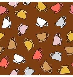 Seamless pattern of cups vector
