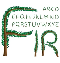 Fir tree alphabet vector